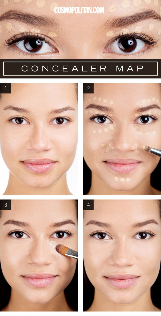 Use this concealer map to get a Beyoncé-like glow.