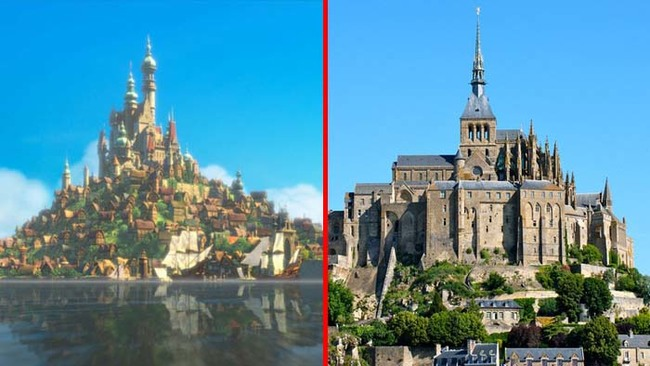 19.) The city and castle in Tangled was also based on Mont Saint-Michel.