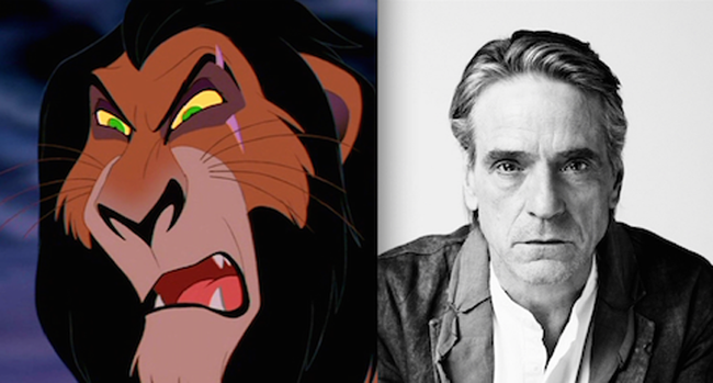 27.) Scar from The Lion King was based on Jeremy Irons.