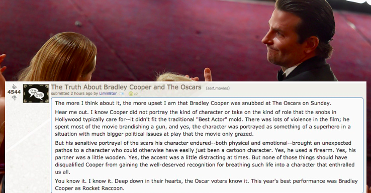 This Is The Perfect Reaction To Bradley Cooper's Oscars Snub