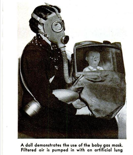 1938: Baby Gas Mask. The threat of possible air warfare in Europe led French inventors to propose this solution for keeping babies safe.