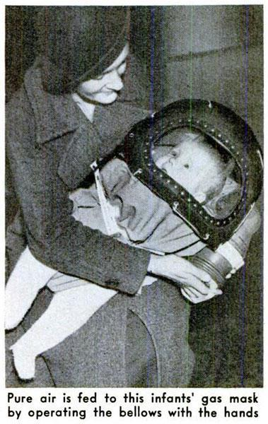 1939: Baby Gas Mask Upgrade. A month away from Germany's invasion on Poland, this upgrade still allows for whoever is holding the infant to control the airflow but with a little more comfort for the kiddo.