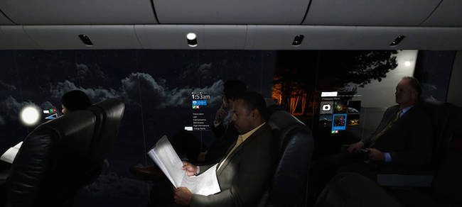 The panorama would reflect the sky during the flight, so night flights would be dark, and the lighting in the cabin would respond to the light in the sky in real time, helping people adjust to time-zone changes.