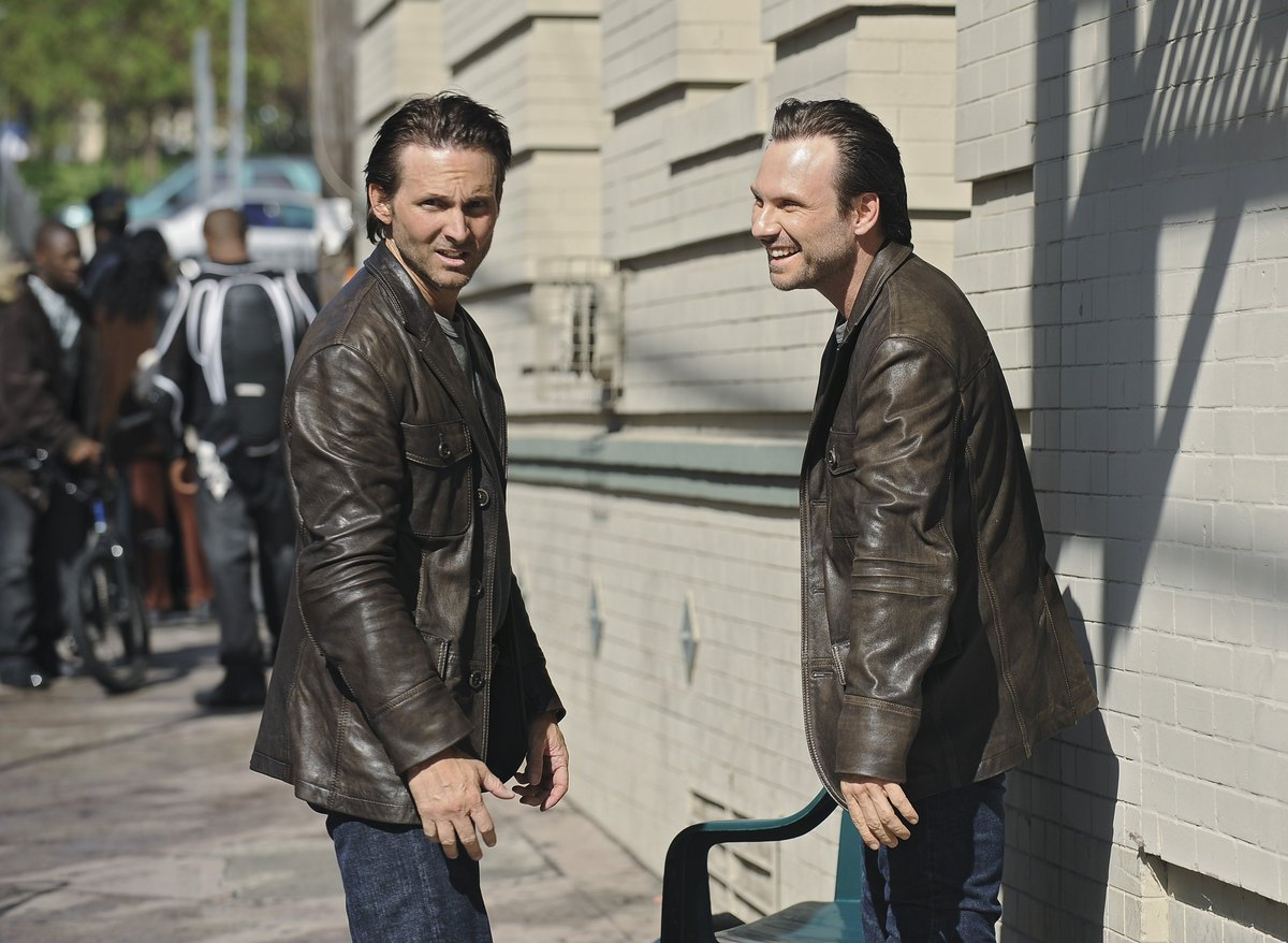 6) Christian Slater (right) with his stunt double, Marc Shaffer, on the set of ABC's The Forgotten.
