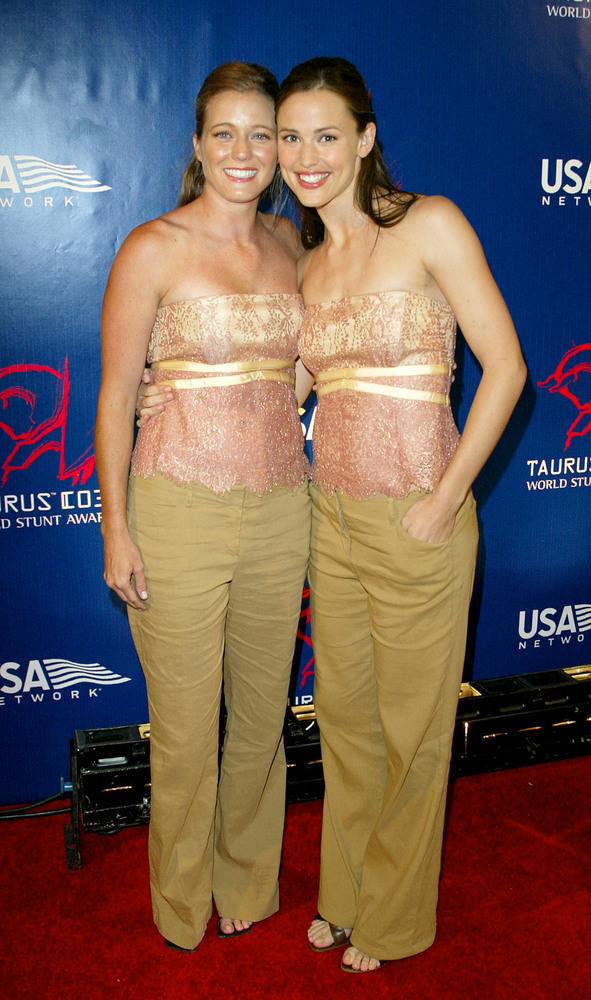 14) Actress Jennifer Garner (right) and her stunt double Shanna Duggins attend the after party for the 3rd Annual Taurus World Stunt Awards at Paramount Studios June 1, 2003 in Hollywood, CA.
