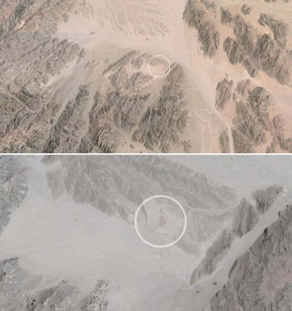 Allegedly, a man from France decided to construct the tiny blip you see here in the desert.