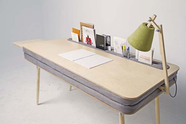9.) A desk with room for books, papers, pens and cords inside of it