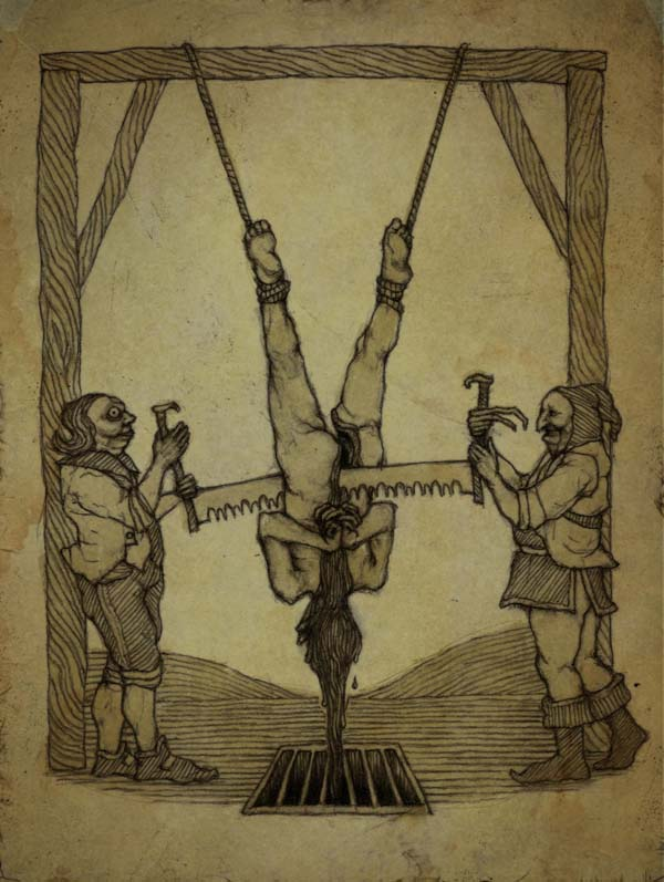 11.) Saws: Saws were widely used as torture devices, as these tools were found in almost any house. Hanging a person upside down and sawing through them, lest they confess, was gory but affective.