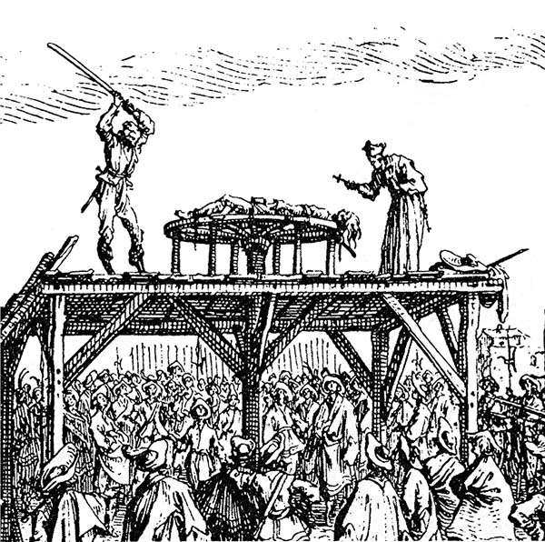 17.) Breaking Wheel: A victim's limbs would be tied to the spokes and the wheel would slowly revolve. As it turned, a torturer would bludgeon the victim. Once their bones were broken, they would be left on the wheel to die.