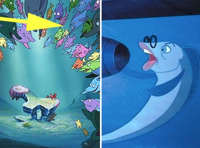 15.) Don Knotts' Henry Limpet fish character (from The Incredible Mr. Limpet) shows up during The Little Mermaid.