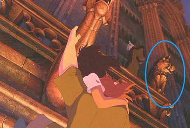 19.) In The Hunchback of Notre Dame, Pumbaa makes an appearance as a gargoyle.