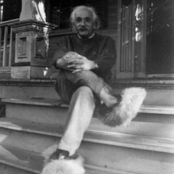 14.) Einstein and his furry shoes.