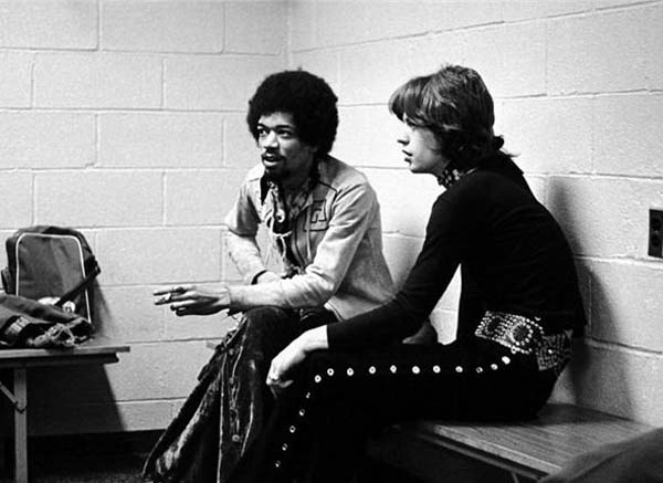 20.) Jimi Hendrix and Mick Jagger (1969).