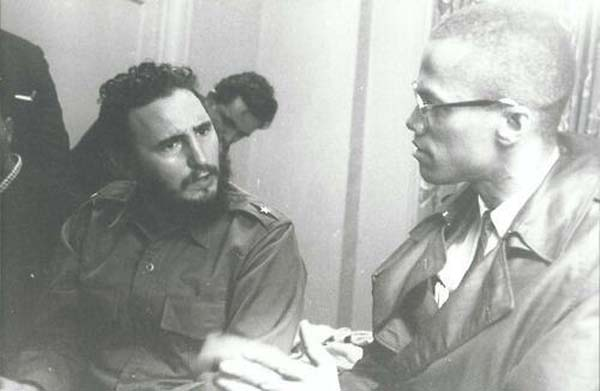 29.) Fidel Castro and Malcolm X (1960).