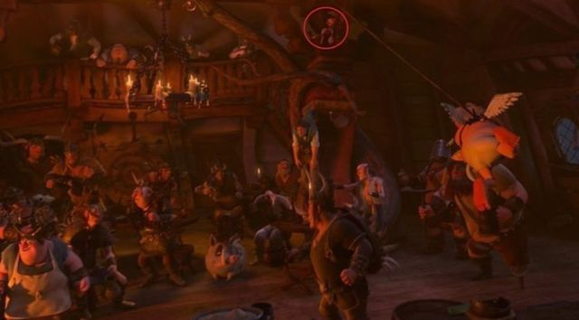 Tangled - look closely because that's Pinocchio up in the rafters during the I've Got A Dream scene.