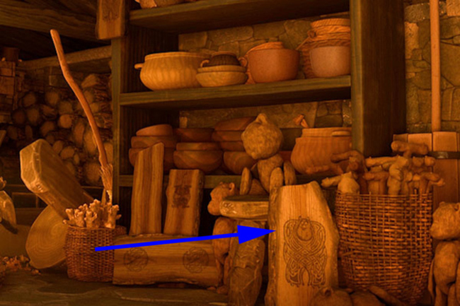 "In ""Brave"" the witch who turns Merida's mother into a bear has carved Sully from ""Monsters Inc"" into a log."
