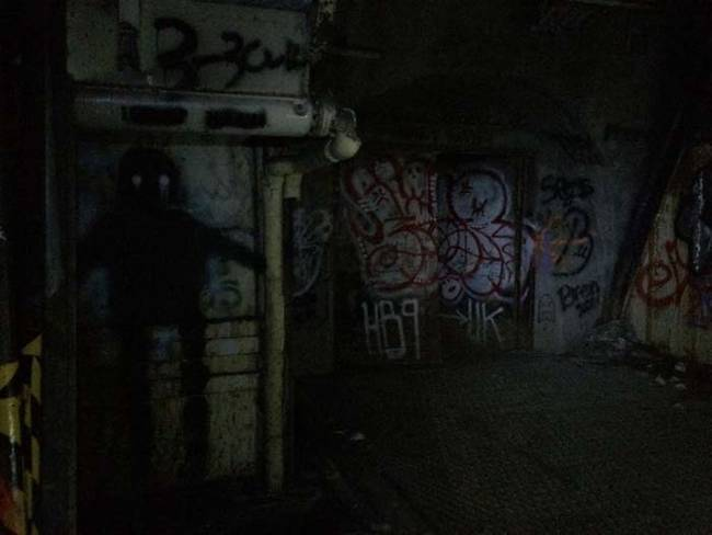 This creepy, dark figure was painted in multiple places throughout the silo.